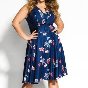 City Chic Lotus Love Dress- Sapphire Blue
